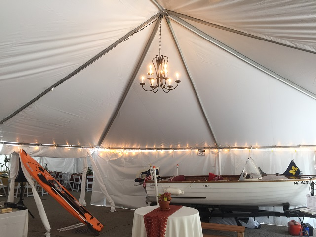 13 White Frame Tent with Chandelier